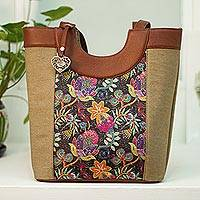 Leather accented cotton shoulder bag, 'Colorful Garden' - Colorful Floral Leather Accented Cotton Shoulder Bag