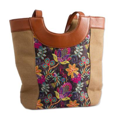 Colorful Floral Leather Accented Cotton Shoulder Bag