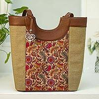 Leather accented cotton shoulder bag, 'Songbird Fantasy' - Bird Motif Leather Accented Cotton Shoulder Bag from Mexico