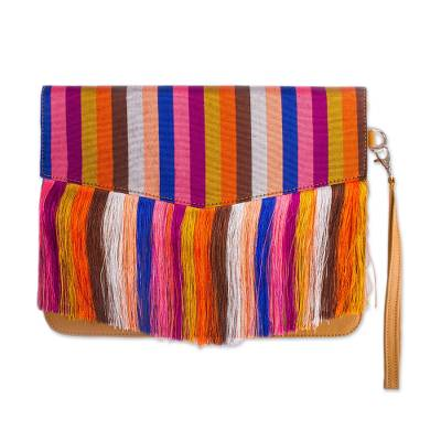Honey Leather Clutch with Colorful Striped Accent
