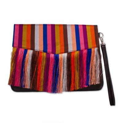 Black Leather Clutch with Colorful Striped Accent