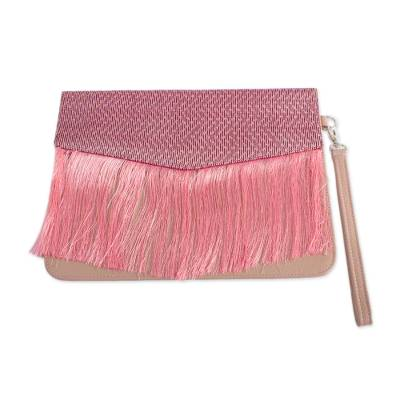 Striped Accent Mauve Leather Clutch Crafted in Mexico