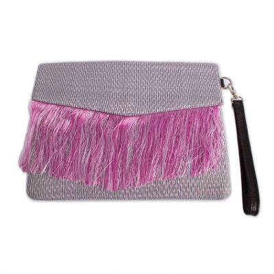 Fringed Leather Accented Clutch Crafted in Mexico