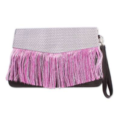 Blush and Black Nylon Accented Leather Clutch from Mexico