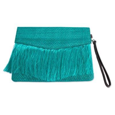 Teal and Black Leather Accented Clutch from Mexico