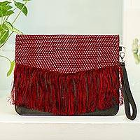 Leather clutch, 'Elegant Companion' - Crimson and Ebony Leather Accented Clutch from Mexico
