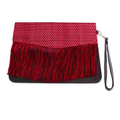 Crimson and Ebony Leather Accented Clutch from Mexico