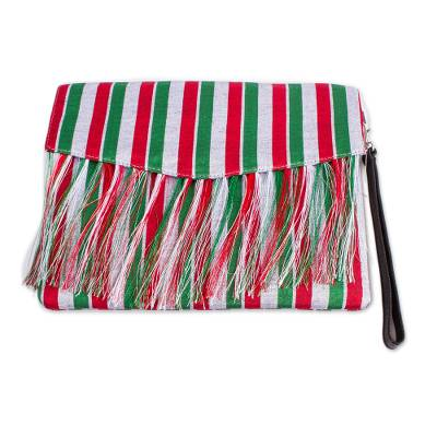 Red Green and White Striped Clutch from Mexico