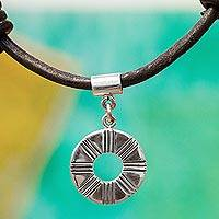 Silver pendant necklace, 'Lined Ring' - Ringed Silver Pendant Necklace from Mexico