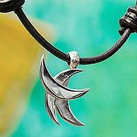 Silver pendant necklace, 'Mystical Crescents' - Crescent Pattern Taxco Silver Pendant Necklace from Mexico