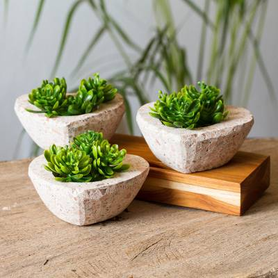 Reclaimed stone flower pots, 'Lovely Plants' (set of 3) - Heart-Shaped Reclaimed Stone Flower Pots (Set of 3)