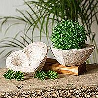 Reclaimed stone flower pots, 'Heartfelt Planters' (pair) - Heart-Shaped Reclaimed Stone Flower Pots (Pair)