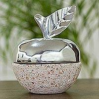 Pewter and reclaimed stone jewelry box, 'Gleaming Apple' - Apple-Shaped Pewter and Reclaimed Stone Jewelry Box