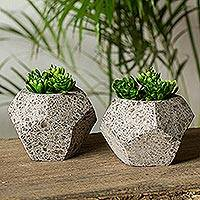 Reclaimed stone flower pots, 'Geometric Plants' (pair) - Geometric Reclaimed Stone Flower Pots from Mexico (Pair)