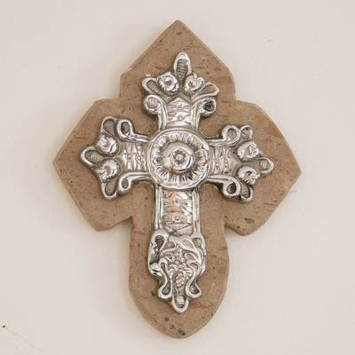 Pewter and reclaimed stone wall cross, 'Baroque Faith' - Baroque-Inspired Pewter and Reclaimed Stone Wall Cross