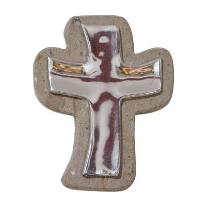 Pewter and reclaimed stone wall cross, 'Lithe Cross' - Simple Pewter and Reclaimed Stone Wall Cross from Mexico