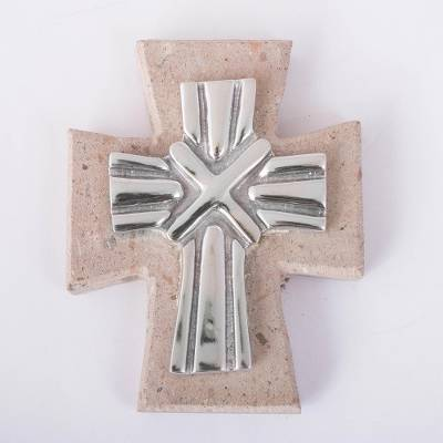 Pewter and reclaimed stone wall cross, 'Strapped Cross' - Pewter and Reclaimed Stone Wall Cross from Mexico