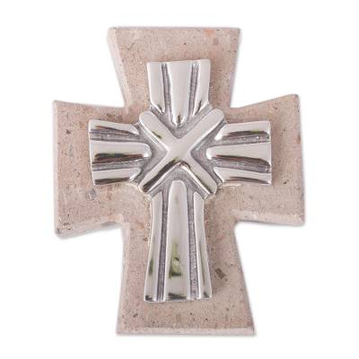 Pewter and Reclaimed Stone Wall Cross from Mexico