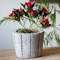 Reclaimed stone flower pot, 'Plant Barrel' - Striped Reclaimed Stone Flower Pot from Mexico