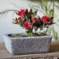 Reclaimed stone flower pot, 'Striped Gardener' - Striped Rectangular Reclaimed Stone Flower Pot from Mexico