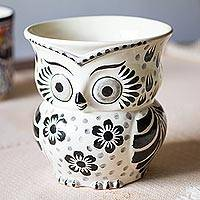Ceramic flower pot, 'Floral Owl' - Black and White Ceramic Owl Flower Pot from Mexico