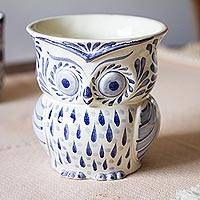 Ceramic flower pot, 'Blue Wind' - Blue and White Ceramic Owl Flower Pot from Mexico
