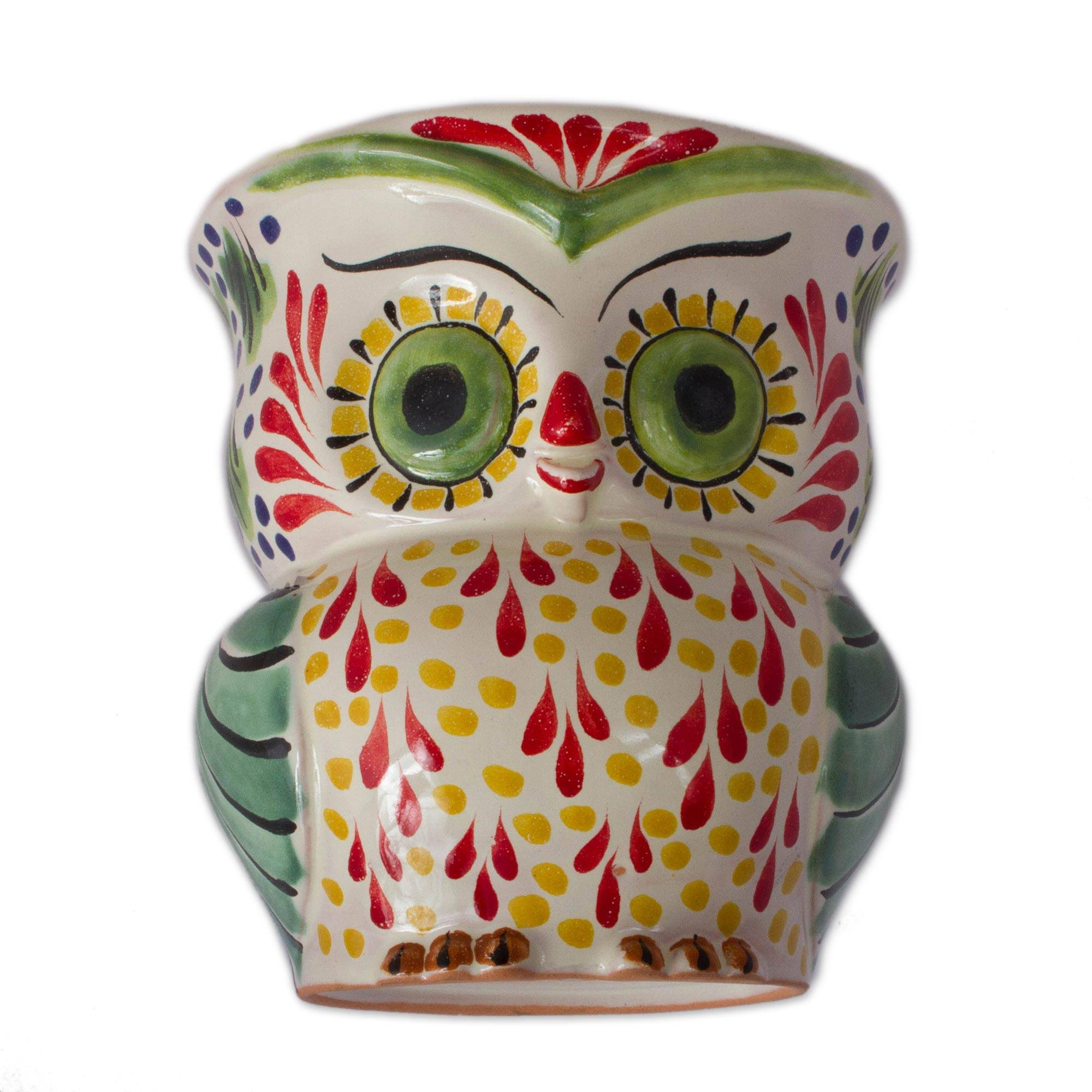Unicef Market Colorful Ceramic Owl Flower Pot From Mexico Owl Planter