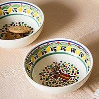 Ceramic bowls, 'Festive Piñata' (pair) - Piñata-Themed Ceramic Bowls from Mexico (Pair)