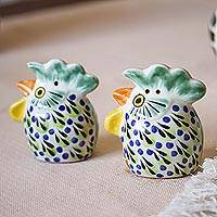 Ceramic salt and pepper shakers, 'Proud Roosters' (pair) - Majolica Ceramic Rooster Salt and Pepper Shakers (Pair)