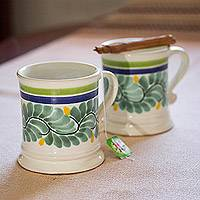 Ceramic mugs, 'Verdant Majolica' (pair) - Majolica Ceramic Mugs in Green from Mexico (Pair)