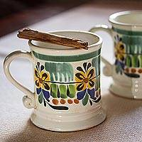 Ceramic mugs, 'Majolica Bouquet' (pair) - Floral Ceramic Mugs from Mexico (Pair)