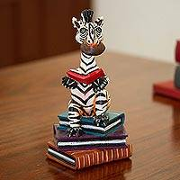 Ceramic sculpture, 'Studious Zebra' - Hand-Painted Ceramic Reading Zebra Sculpture from Mexico