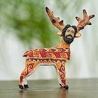Ceramic sculpture, 'Nahual Deer' - Ceramic Deer Nahual Sculpture from Mexico
