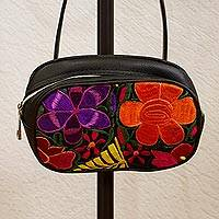 Cotton accent leather waist bag, 'Fascinating Floral' - Floral Embroidered Leather Waist Bag from Mexico