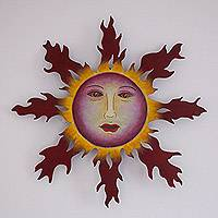 Steel wall sculpture, 'Fiery Tendrils' - Handmade Steel Sun Wall Sculpture from Mexico