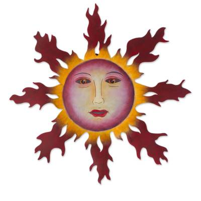 Handmade Steel Sun Wall Sculpture From Mexico Fiery Tendrils Novica