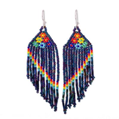 Glass beaded waterfall earrings, 'Shimmering Blue Rainbow' - Floral Glass Beaded Waterfall Earrings in Shiny Blue
