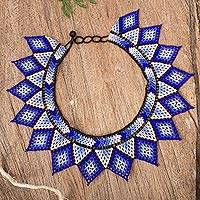 Glass beaded necklace, 'Cool Diamonds' - Diamond Pattern Glass Beaded Necklace in Blue from Mexico