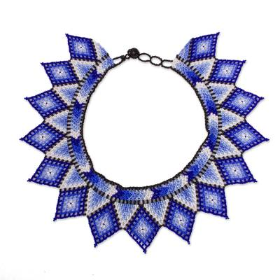 Diamond Pattern Glass Beaded Necklace in Blue from Mexico