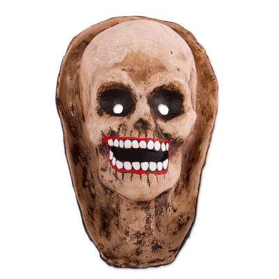 Recycled Papier Mache Skull Mask in Brown from Mexico