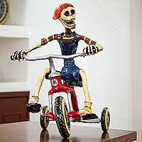Recycled papier mache sculpture, 'Tricycle Skeleton' - Recycled Papier Mache Sculpture of a Skeleton on a Tricycle