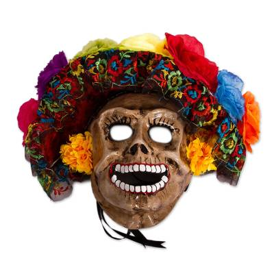 Recycled Papier Mache Calavera Mask from Mexico
