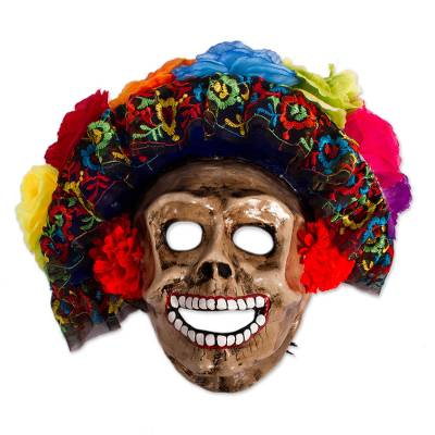 Floral Catrina Recycled Papier Mache Mask from Mexico