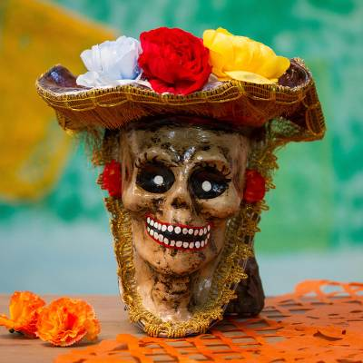 Recycled papier mache mask, 'Elegant Catrina' - Recycled Papier Mache Catrina Mask Crafted in Mexico