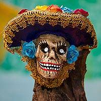 Recycled papier mache mask, 'Blue-Hat Catrina' - Recycled Papier Mache Catrina Mask with a Blue Hat