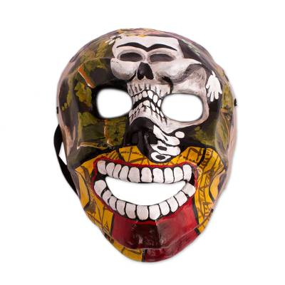 Frida-Themed Recycled Papier Mache Skull Mask from Mexico