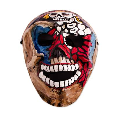 Hand-Painted Recycled Papier Mache Skull Mask from Mexico