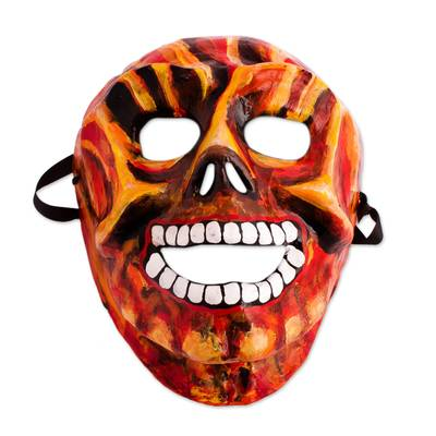 Fiery Recycled Papier Mache Skull Mask from Mexico