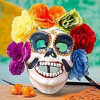 Recycled papier mache mask, 'Floral Sugar Skull' - Floral Recycled Papier Mache Skull Mask from Mexico