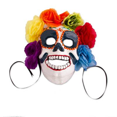 Floral Recycled Papier Mache Skull Mask from Mexico